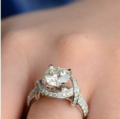 2CT Round Cut Diamond Beautiful Unique Engagement Ring 14K White Gold Over