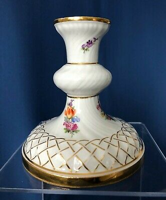 Antique Meissen hand painted porcelain candleholder, as is