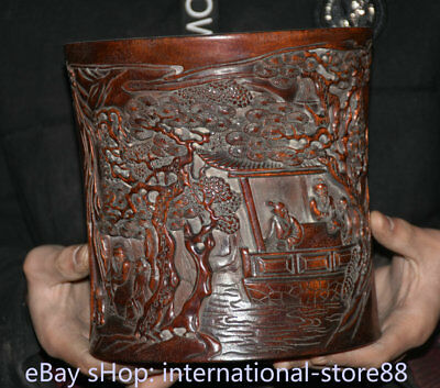 "7.6"" Old Chinese Redwood Wood Dynasty Man People Bamboo Brush Pot Pencil Vase"