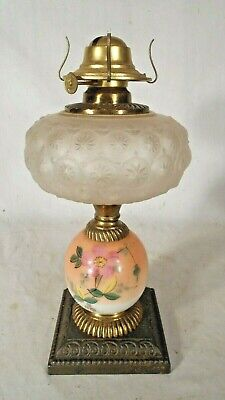 ANTIQUE 19th CENTURY VICTORIAN OIL LAMP WITH HAND PAINTED MILK GLASS BASE
