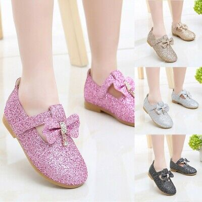 Infant Kids Baby Girls Pendant Bow Crystal Bling Sequins Single Princess Shoes A