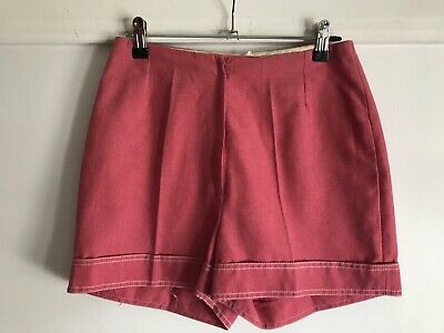 """Vtg 70s Red/pink Cotton High Waisted Shorts Sz 12 W 26"""""""