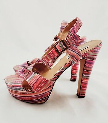 832e5a1d644 Women s Steve Madden Size 10 M Ankle Strap Chunky High Heels Pink Striped  Shoes