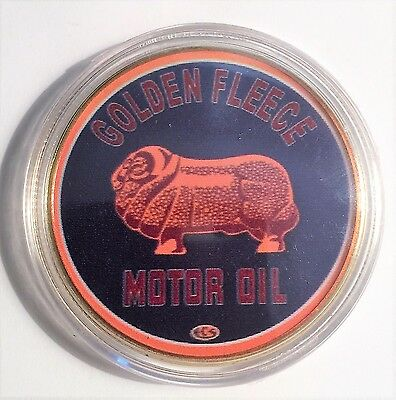 """GOLDEN FLEECE"" Colour Printed 999 24k Gold plated coin, Petrol, Oil. (28)"