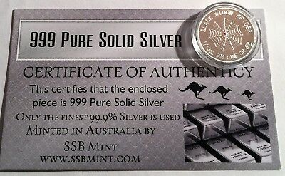 """""""Black Widow Spider"""" 1/10th OZ 99.9% Pure Solid Silver Bullion Coin with C.O.A."""