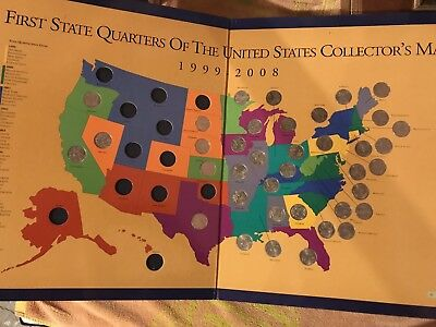 38/50 States First State Quarters of the United States Collector's Map 1999-2008