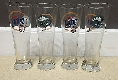 "Set Of 4 MILLER LITE - Philadelphia Eagles Pilsner Beer Glasses - 8.5"" TALL"