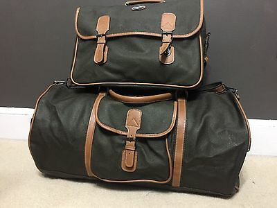 Vintage 2pcs Pan Am Airlines Brown Carry On Luggage Travel Bag & Duffle/Tote Bag