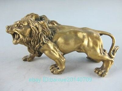 China Old Handwork Copper Carved A Fierce Lion Roar exquisite Statue d02