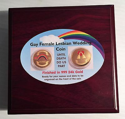 GAY FEMALE (Lesbian) 1 oz Wedding Celeb coin 999 24k Gold Plated in Display Box
