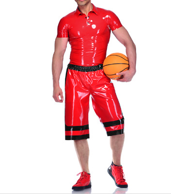 Latex Uniform Men Rotes Shirt and Black Red Shorts Suit 0.4mm Size S-XXL