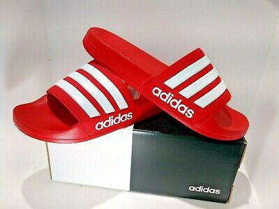 sports shoes f780e 652ab NEW Adidas Men s Adilette Scarlet White Scarlet Shower Slide Sandal RED  SIZE 9