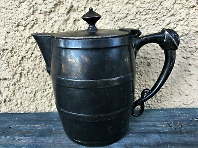 MERIDEN BRITTANIA SILVER PLATE SYRUP PITCHER CREAMER BARREL SHAPE FACE on HANDLE