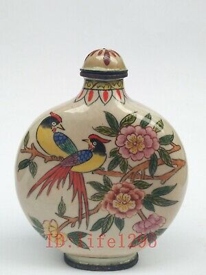 Collecting China Copper Cloisonne Snuff bottle Painting Flowers Birds Decoration