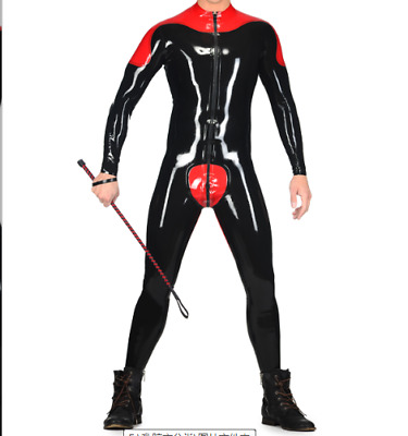 Latex Catsuit Men Black and Red Rennanzug Tight All Inclusive Set Size S-XXL