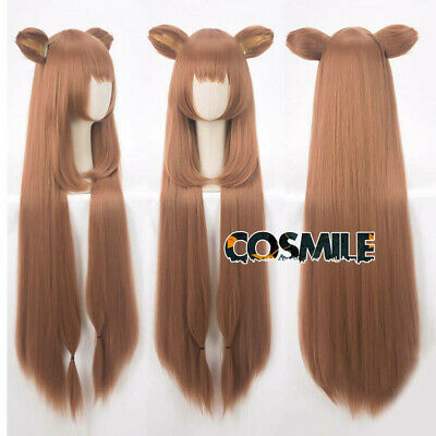 Tate no Yuusha no Nariagari Raphtalia Rafutaria Cosplay Hair Wig + Ear Shield Sa