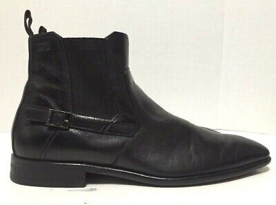 7501d69817f HUGO BOSS CHELSEA Ankle Boots Pointy Toe Black Leather 50273507 Mens Size 9