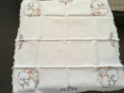 VINTAGE 40/50's SQUARE HAND EMBRIODERED MULTI-COLOURED LINEN TABLE SUPPER CLOTH