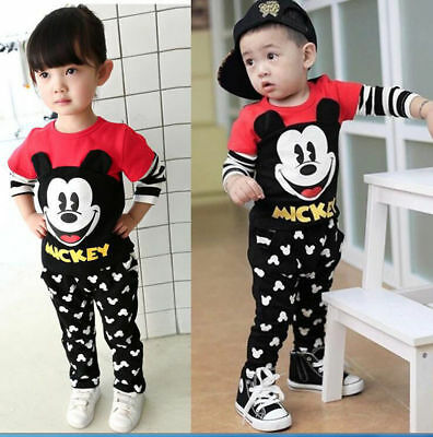 Baby Girls Boys Cartoon Mickey Long Sleeve Tops+Pants Kids Cotton Clothes Sets