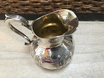 Antique Late 1800s Sterling Silver Repousse Hand Wrought Pitcher