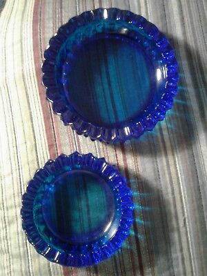 Fenton, Hobnail Blue, Vintage Pair, large and small