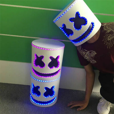 NEW LED Marshmello DJ Mask Helmet Cosplay Costume Halloween Party Props Bar Mask
