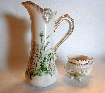 Beautiful Creamer Pitcher And Mini Sugar Bowl With Gold Trim - Porcelain