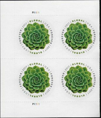 Us 2017 Scott #5198 Green Succulent 4 Mint Nhxf Global Forever Stamp Plate Block