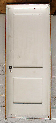 """2 avail PRE-HUNG 30""""x80"""" Antique Vintage Interior Wood Wooden Door 2 Panel Frame"""