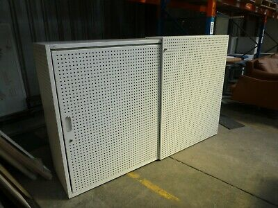 Office/Home Sliding 2 Door Cabinet White Perforated Metal Black Fabric 36610/1
