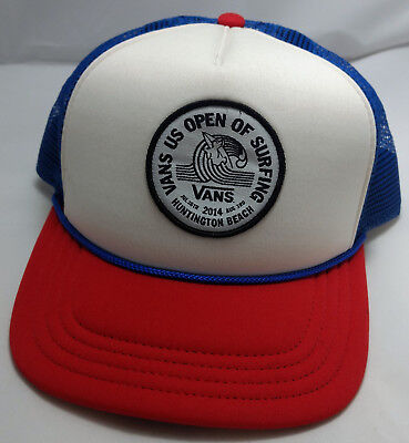 63d29832 VANS US OPEN OF SURFING 2014 snapback hat cap adjustable huntington red blue