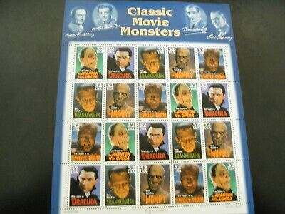 Scott# 3168-3172 32 cent Classic Movie Monsters Sheet of 20