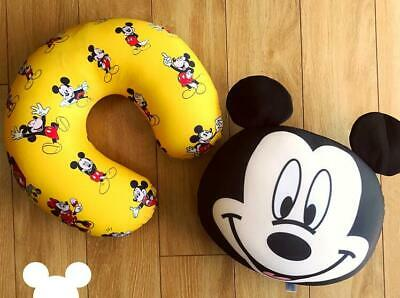 Cute Mikey Mouse 2in1 Plush Soft Back Cushions or Travel U-Type Neck Pillow