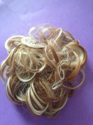 **blonde + Brown** Highlight  Curly Hair Scrunchie Pony Tail Hair Piece