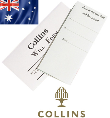 Collins Australian DIY Will Kit Form + Envelope + Instructions AUS STOCK