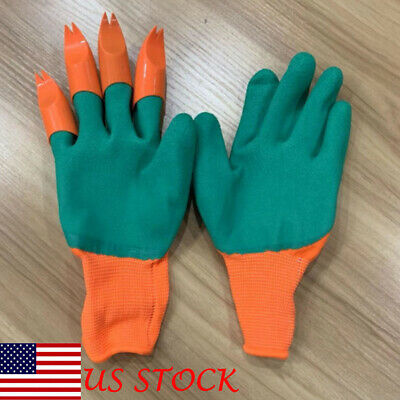 1pair Garden Genie Gloves with Claws For Raking,Digging & Planting 4 ABSPlastic