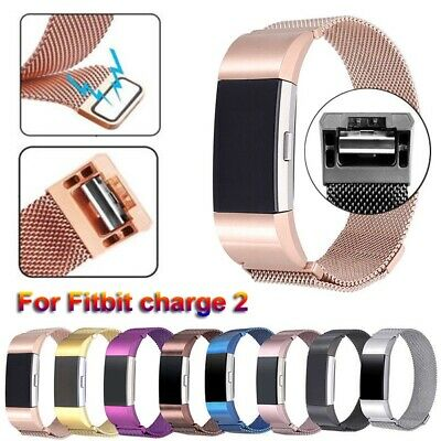 Stainless Steel Milanese Magnetic Loop Band 21mm For Fitbit Charge 2 Wristband