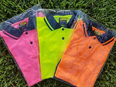 KIDS Hi Vis Safety Work Wear Polo Tshirt S/S PINK YELLOW ORANGE All Sizes 4 -14