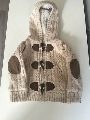 EARLY DAYS Boys Cable Knit Fleece Lined Warm Cardigan With Hood 6-9 Months