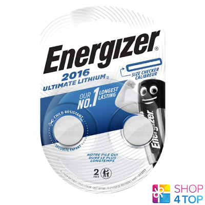 2 Energizer Cr2016 Ultimate Lithium Batteries 3V Coin Cell Ecr2016 Exp 2025 New