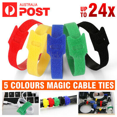 Hook Loop Magic Cable Ties Reusable Velcro Coded Organiser Cords T