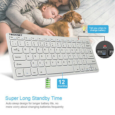 Ultra Slim Thin Quiet Wireless Keyboard USB 2.4GHz QUERTY UK Layout for Win 8 10