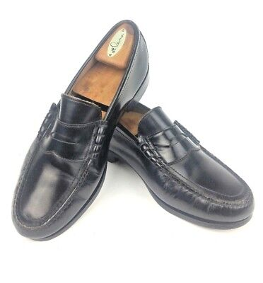85449747063 Vintage Towncraft Black Leather Strap Penny Loafers Dress-Shoes-Hand-Sewn 10