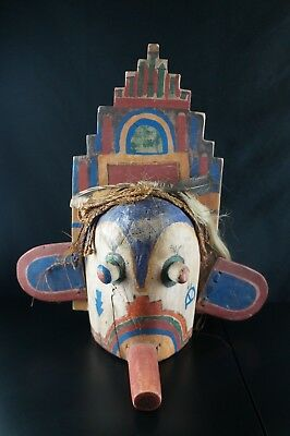 31# Antique KACHINA Mask - HOPI, Native American, HORSE HAIR