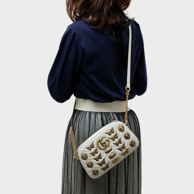 3a82790337b0cf GUCCI GG MARMONT Animal Gold White Chain Shoulder Hand Bag 447632 DTDKT Used