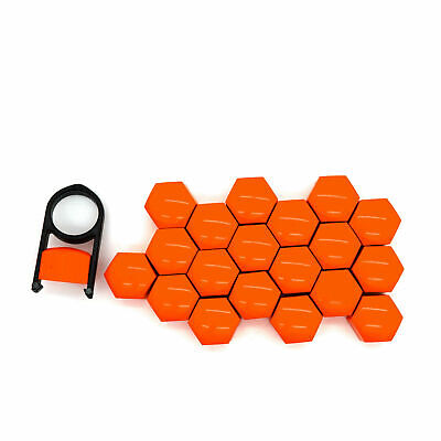 19mm ORANGE ALLOY WHEEL NUT BOLT COVERS CAPS UNIVERSAL SET FOR ANY CAR