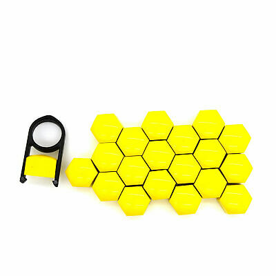 19mm YELLOW ALLOY WHEEL NUT BOLT COVERS CAPS UNIVERSAL SET FOR ANY CAR