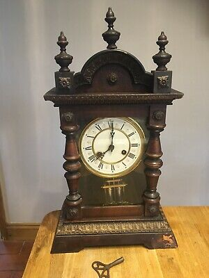 EARLY 1900s JUNGHANS WOODEN MANTEL CLOCK STRIKING On The Hour And Half