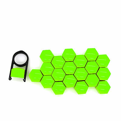 19mm GREEN ALLOY WHEEL NUT BOLT COVERS CAPS UNIVERSAL SET FOR ANY CAR