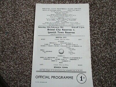 Bristol City Reserves v Ipswich Town Reserves programme 25 Feb 1961